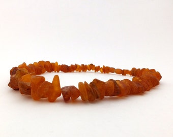 Vintage Soviet Russian necklace made of unpolished Baltic amber. Genuine Baltic amber necklace.