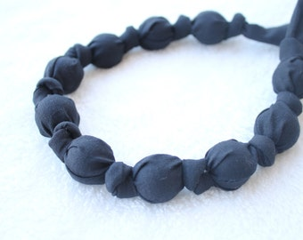 ORGANIC Fabric Statement Necklace,Teething Necklace, Chomping Necklace, Nursing Necklace - Solid Black