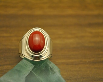 sterling silver & red coral band ring