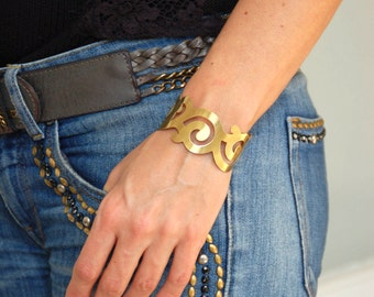 Gold Cuff Bracelet Curls in Matte Brass