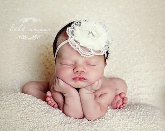 Christening Flower Headband Ivory Baptize Flower Headband Baby Girl Headband Newborn Baby Photography Prop Newborn Baby Photo Prop