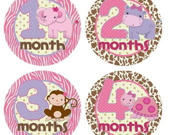 Monthly Stickers Baby Month Stickers Monthly Milestone Stickers Monthly Newborn Girl Baby Shower Gift Baby Accessories Jungle BMST034