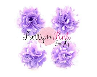 Lavender Satin Mesh Flowers Set of 4...Mini Satin Mesh Flowers...Satin Flowers..Tulle Flowers...Silk Flower