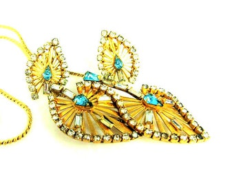 Art Deco Phyllis Candle Rhinestone Necklace Earrings Set Gold Filled