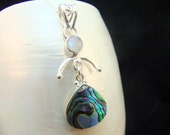 Abalone & Moonstone Sterling Silver Necklace Handcrafted Bespoke Bezel Set Pendant