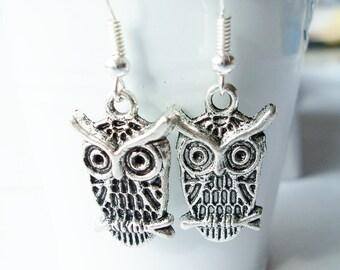 Metal owl charm earrings - owl earrings - owl jewelry - owls - owl charms - bird owl earrings - bird jewelry - Halloween earrings