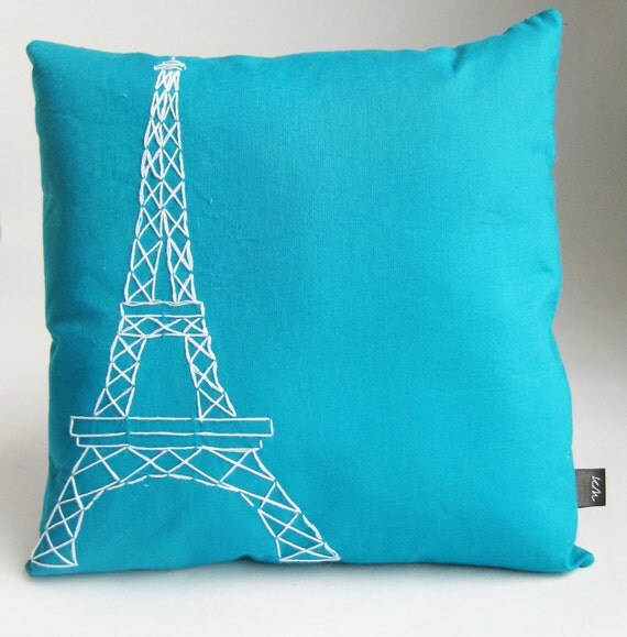 Small Square Decorative Pillows : Small Square Paris Eiffel Tower Pillow - 12
