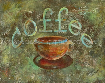 "Coffee art print, 8 x 10"" giclee, Coffee cup, Kitchen art, Dining room wall art, Print of coffee cup painting, Coffee collage, Coffee decor"