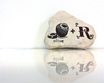 Hand Scripted Riddle River Stone, Black Ink Scripted Rock,Pictogram Puzzle, Poetry Stones, Typography Stones, Decorative Stones