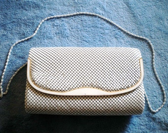 "1970 purse, Vintage white metal mesh purse evening bag 1970's ""Old Beauty"" NICE Condition"