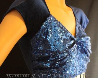 BLUE SEQUIN CROP sequin top, bellydance , belly dance, casual, cover up, bolero
