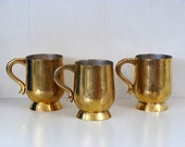 3 Vintage Brass Cups Made In India