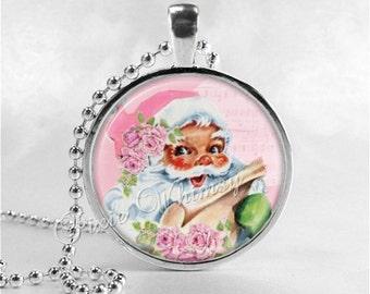 PINK CHRISTMAS Necklace, Pink Santa, Santa Claus, Christmas Necklace, Christmas Jewelry, Vintage Christmas, Pink Shabby Cabbage Roses