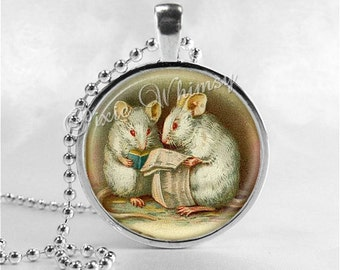 MOUSE Necklace, Mice, Glass Photo Art Necklace, Mouse Jewelry, Mouse Pendant, Mouse Lover