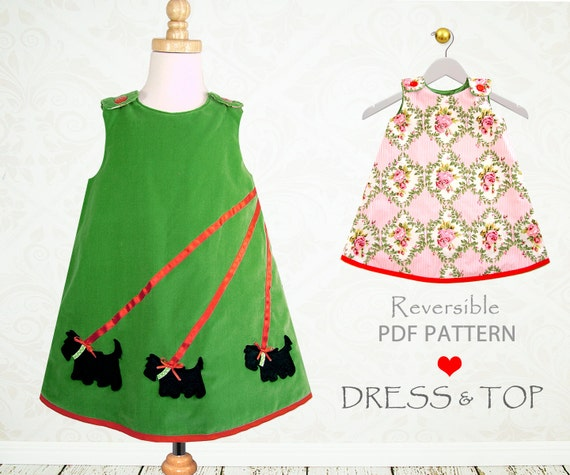 Reversible dress pattern, Childrens sewing pattern PDF, girls dress pattern, girls clothing pattern, sewing pattern for kids,  SCOTTIE