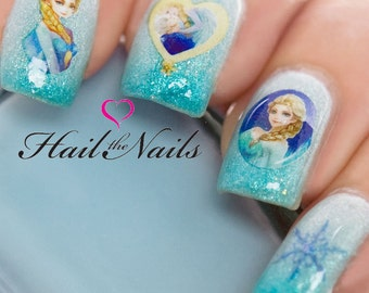 Frozen nail decals etsy frozen nail art wraps water transfers decals elsa anna y1109 salon quality prinsesfo Images