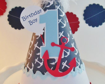 Lil' Sailor Boy - Anchor - Lifesaver - Nautical Birthday Party Hat - Personalized
