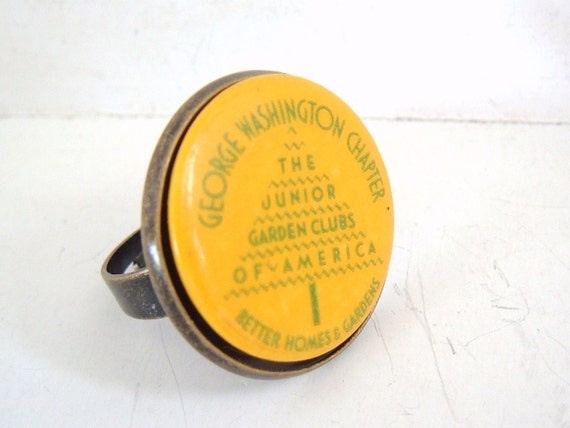 Yellow kitsch ring Junior Garden clubs of America Vintage Recycle