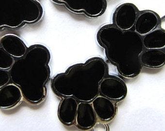 Set of 5 BLACK ENAMEL PAW Charm Pendants