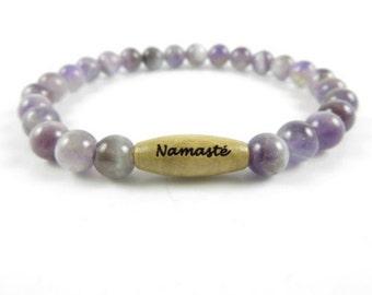 Namaste Healing Mala Bracelet Yoga Jewelry Spiritual Amethyst Wrist Mala Meditation Gemstone Beaded Bracelet Buddhist Mala Birthday Gift