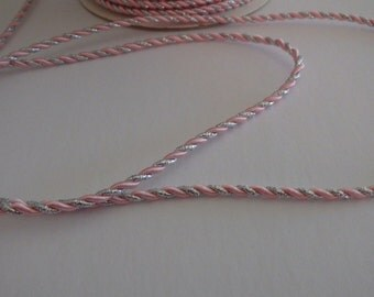 3mm shiny pink and silver cord/ribbon 5 yards (180 inches)
