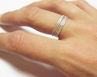 Stacking Rings Silver Set of 5 Rings