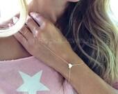 SALE Sweet Heart Hand Chain, Heart Finger Bracelet, Personalized Bracelet, Gold Slave Bracelet