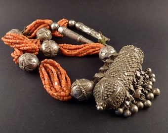 Old Ethnic coral and silver Yemen necklace, yemenite jewelry, big silver hirz, Muslim amulet, ethnic tribal necklace, old ethnic necklace