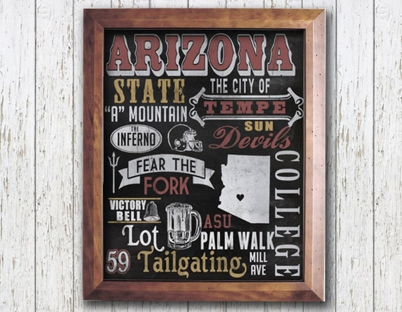 Wall Decoration For College : Asu football wall art college town decor