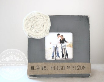 Engagement Gift Personalized Picture Frame 'Mr & Mrs' Engagement Present Burlap Rustic Aged Frame