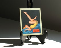 Vintage Pinup Art / Earl Moran Salesman Sample 1940s wall hanging Girly Bombshell Risque Calendar girl mid century retro kitsch decor lady