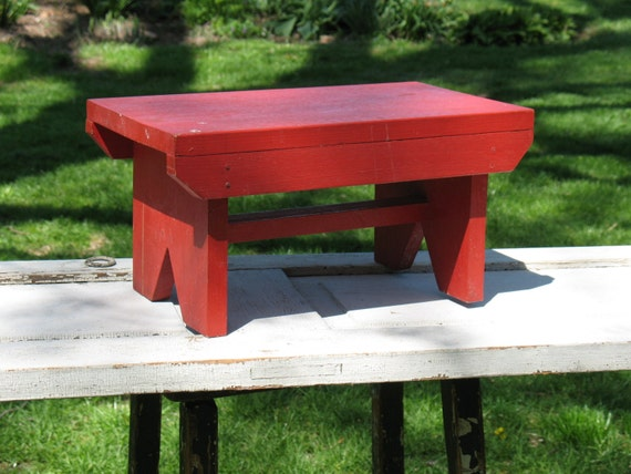Vintage Primitive Wood Bench Red Painted Child S Bench
