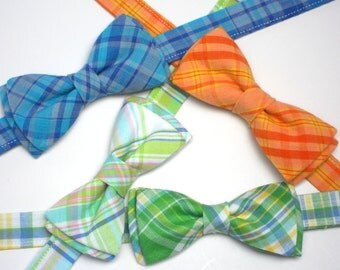 Boys first birthday cake smash prop, bowtie for boys, plaid bow tie for toddlers, orange plaid bowtie, green plaid bowtie