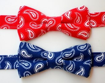 Baby boy bowtie, boys bowtie, blue bowtie for boys, red bowtie for toddlers, paisley bow tie for men