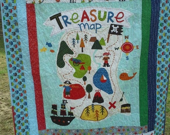 Handmade Boy Toddler Quilt w Pillowcase, Boy Toddler Bedding, Boy Crib/Toddler Quilt,  Nautical Quilt, Treasure Map by Riley Blake