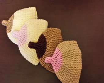 Crochet Breastfeeding beanie/ Boob hat for baby/ Baby Shower Gift Made to order