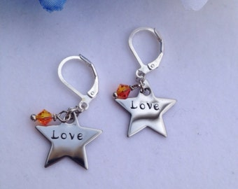 Personalized Star Charm and Crystal Earrings