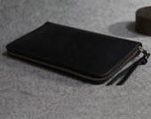 A6 Leather Journal Diary Notebook with zipper /loose-leaf notebook/ notepad/passport wallet/black  leather
