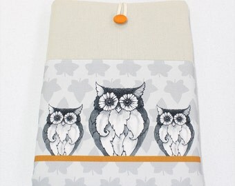 Owls and Leaves Laptop Sleeve, Padded Laptop Case, Google Chromebook, Fabric cover laptop computers, Grey, Orange, 14 in, 15 in, 13 in, 11in