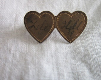 Antique Double Heart Sweetheart Pin 1938