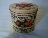Vintage STRAWBERRY TREAT OVAL Tin reads Founded in 1868