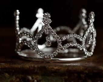 Leiah Mini Rhinestone Crown, Newborn Photography prop, Toddler/Child Flower Girl Princess Tiara