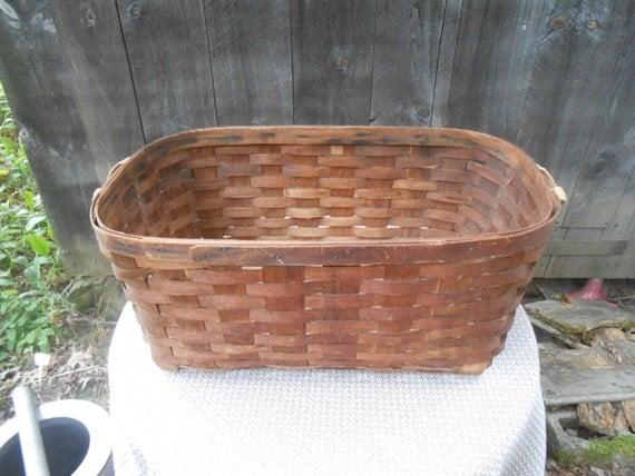 Large Antique Wood Woven Slat Laundry Basket With Cloth Web