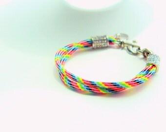 Rainbow Paracord Pave Bracelet