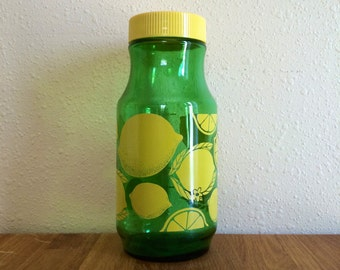 Anchor Hocking Green Glass Juice Carafe-lemon design