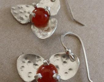 Sterling Silver Carnelian Flower Earrings