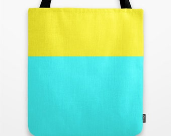 Yellow and Blue Tote Bag, Color Block Tote Bag, Canvas Tote Bag, Sky Blue Tote, Cyan Tote, Bridesmaid Gift
