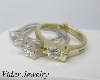 Moissanite Engagement Ring,Handcuff Engagement Ring,Unique Engagement Ring,Solitaire Engagement Ring,Diamond Engagement Ring,Custom Ring
