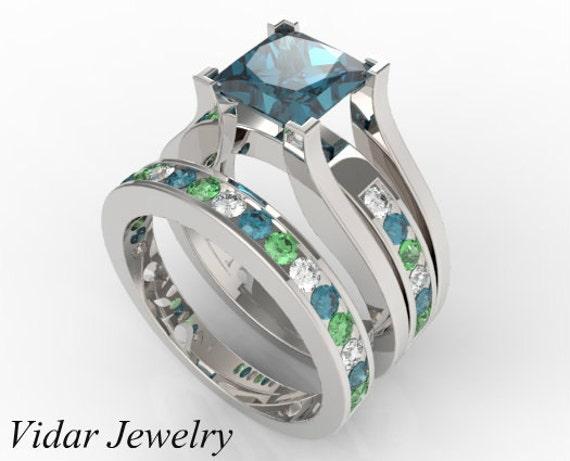wedding ring set blue multi color ringunique diamonds