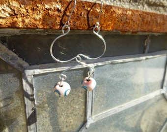 Glass bead earrings in pink, blue and cream